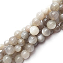 natural gray moonstone smooth round beads