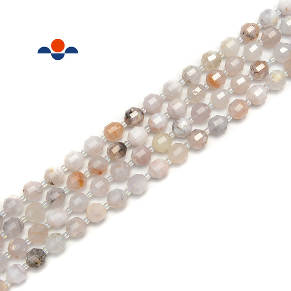 "White Opal Prism Cut Double Point Faceted Round Beads 9x10mm 15.5"" Strand"