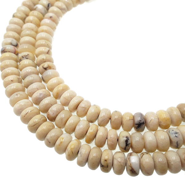 african white opal smooth rondelle beads