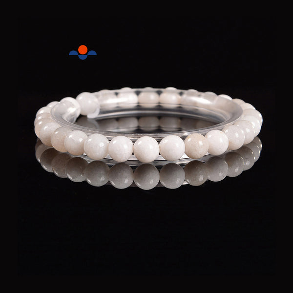 Natural White Jade Smooth Round Elastic Bracelet Beads Size 8mm 7.5'' Length
