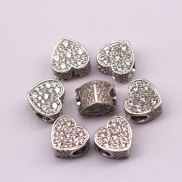 silver plated micro pave zircon heart charmx