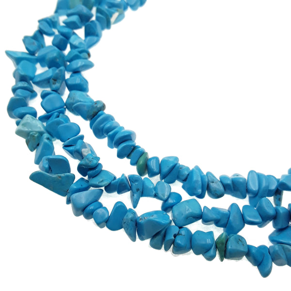 blue magnesite turquoise irregular nugget chips beads