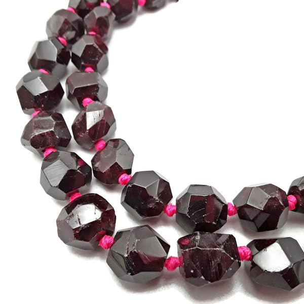 "Natural Red Garnet Faceted Nugget Chunk Beads Approx 12x15mm 15.5"" Strand"