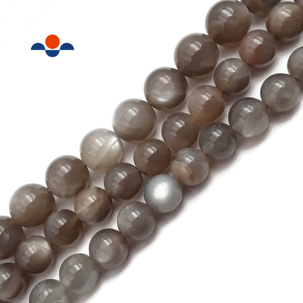 "High Grade Gray Moonstone Smooth Round Beads 8mm 10mm 15.5"" Strand"