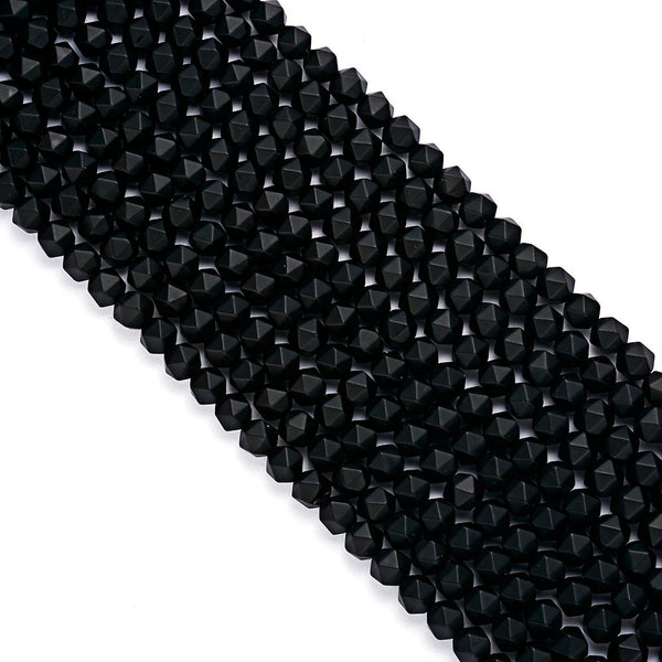 black onyx matte faceted star cut beads