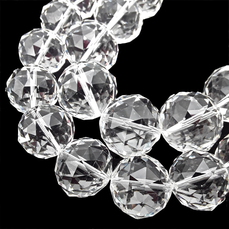 "Clear Crystal Glass Faceted Balls Chandelier Sun Catcher Beads 24mm 28mm 8"" Strand"