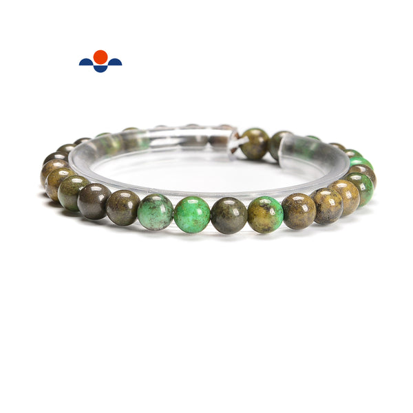Green Brown Opal Smooth Round Elastic Bracelet Beags Size 6mm 7.5'' Length
