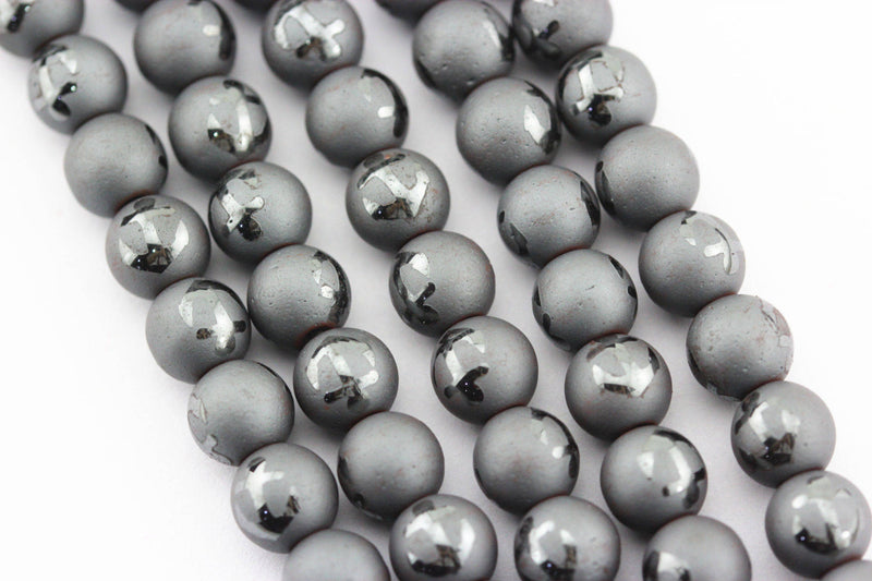 natural hematite anchor shiny design matte round beads