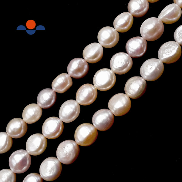"Multi Peach Pink Fresh Water Pearl Pebble Nugget Button Beads 12-13mm 15.5""Strnd"