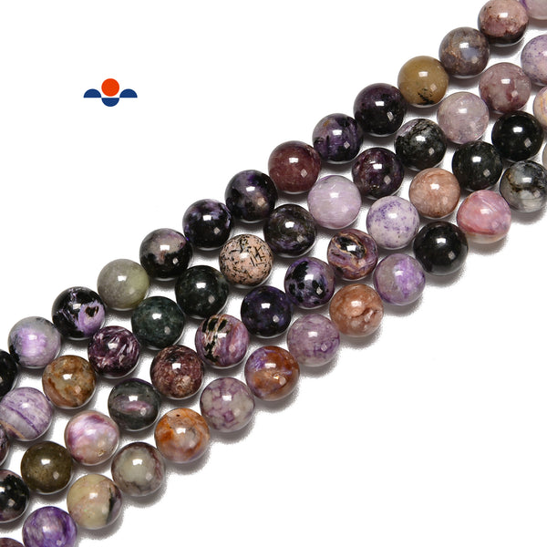 "Natural Charoite Smooth Round Beads Size 6mm 8mm 15.5"" Strand"