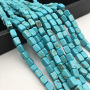 blue howlite turquoise smooth rectangle cube beads
