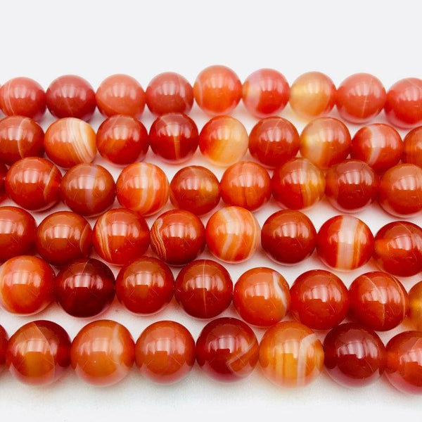 large red Striped agate smooth round beads