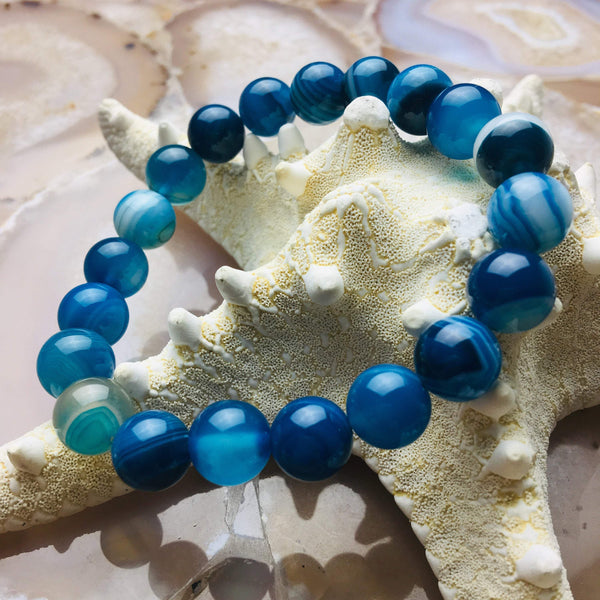 blue Striped agate bracelet smooth round