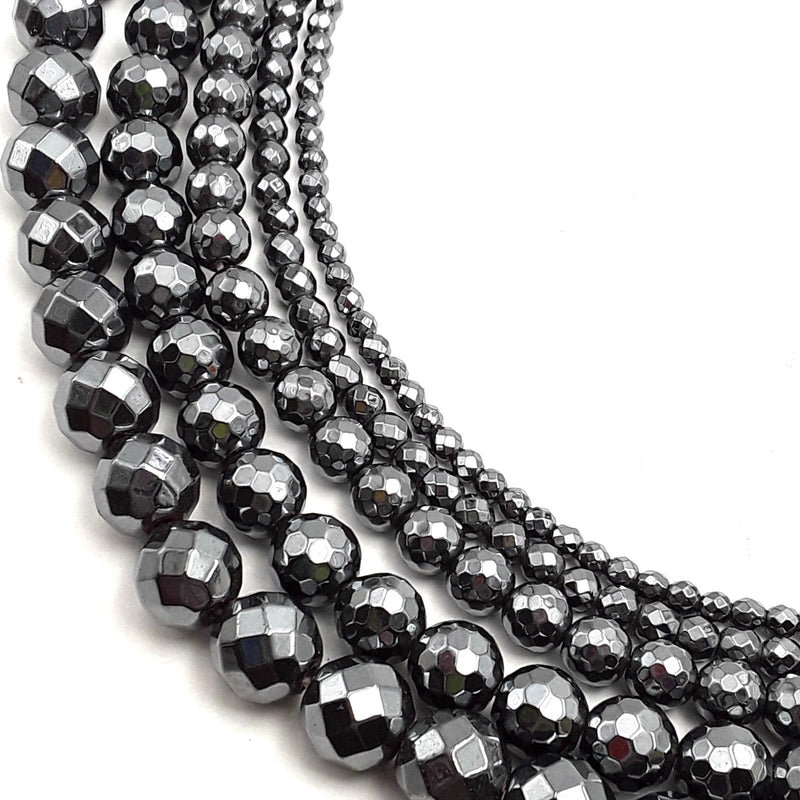 gray hematite faceted round beads