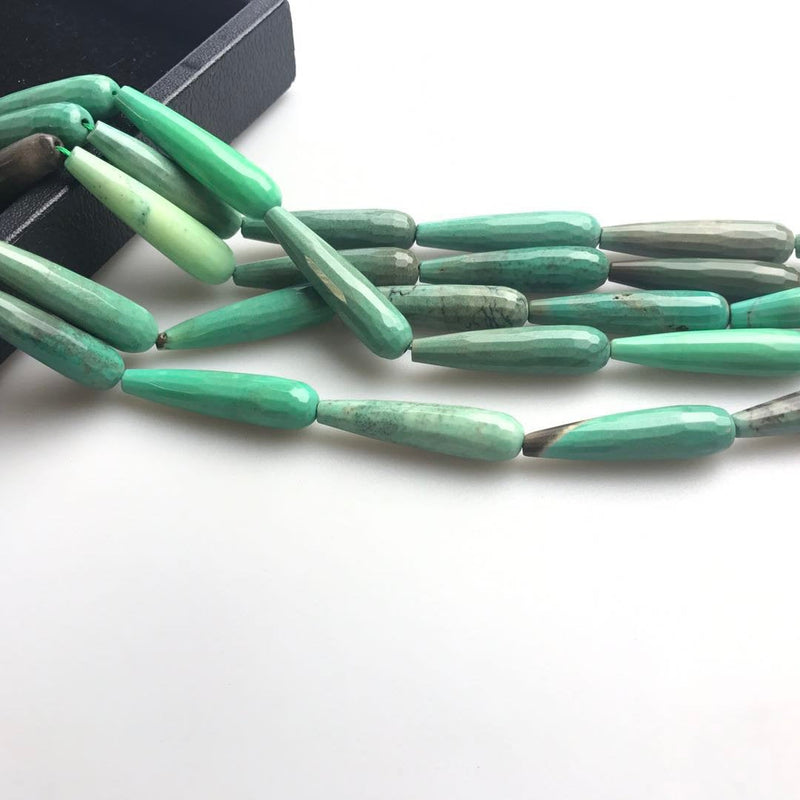 natural chrysoprase faceted teardrop beads