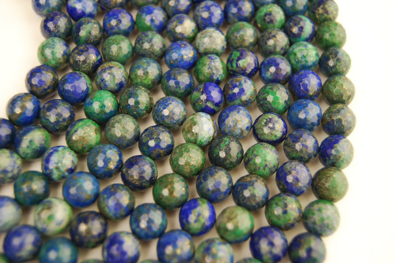 chrysocolla faceted round beads