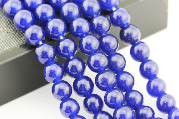 large hole blue dyed jade smooth round beads