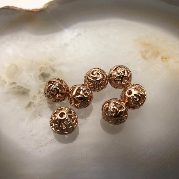 rose gold copper micro pave zircon spacer ball shape