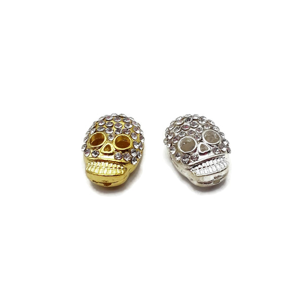 Alloy Silver/Gold Plated Rhinestone Skull Pendant Charm 15x20mm Sold by Piece