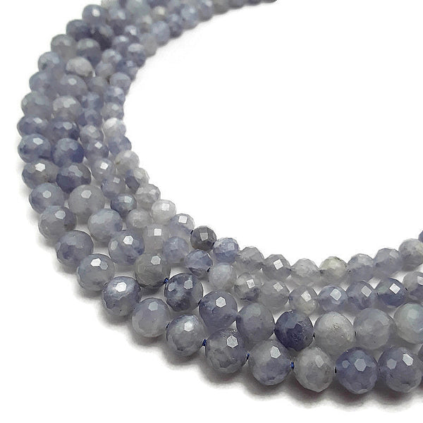 natural iolite faceted round beads