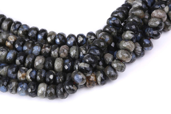 natural gray opal faceted rondelle beads