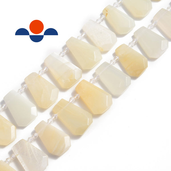 cream moonstone graduated faceted trapezoid beads