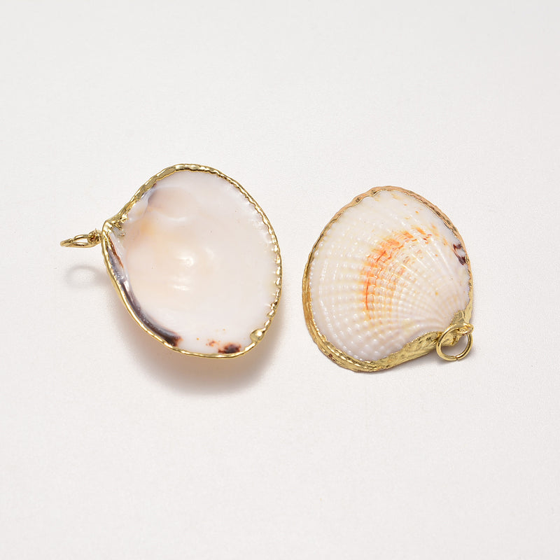 gold plated edge sea shell pendant