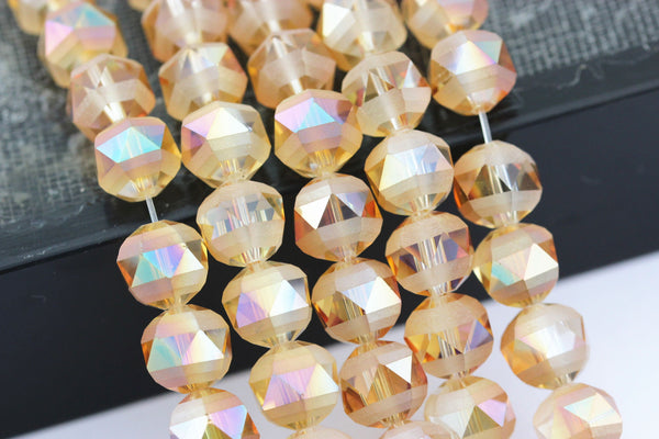 peach ab crystal glass matte faceted round beads