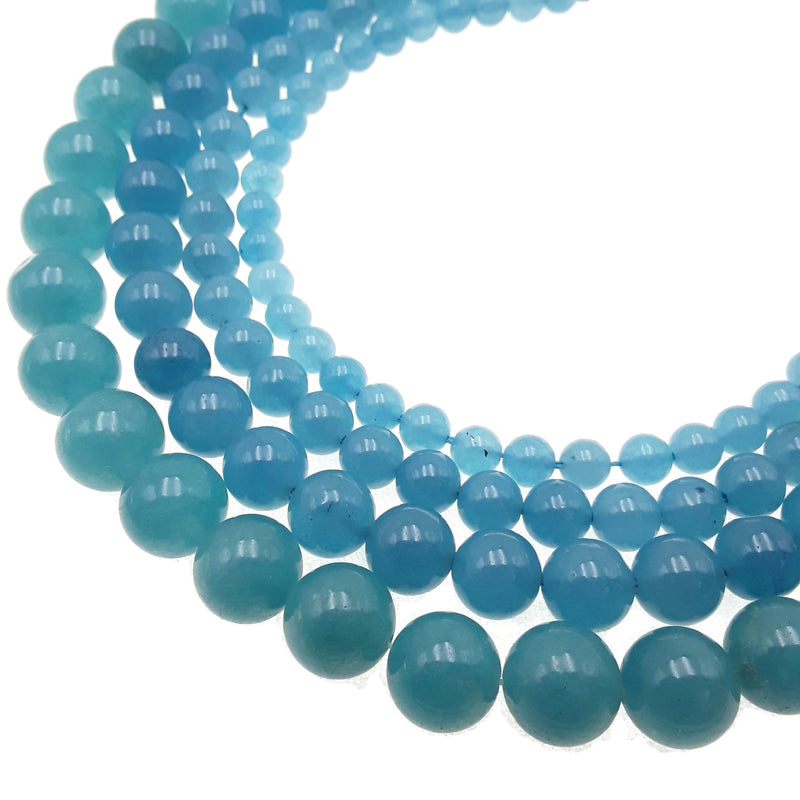 blue sponge quartz smooth round beads
