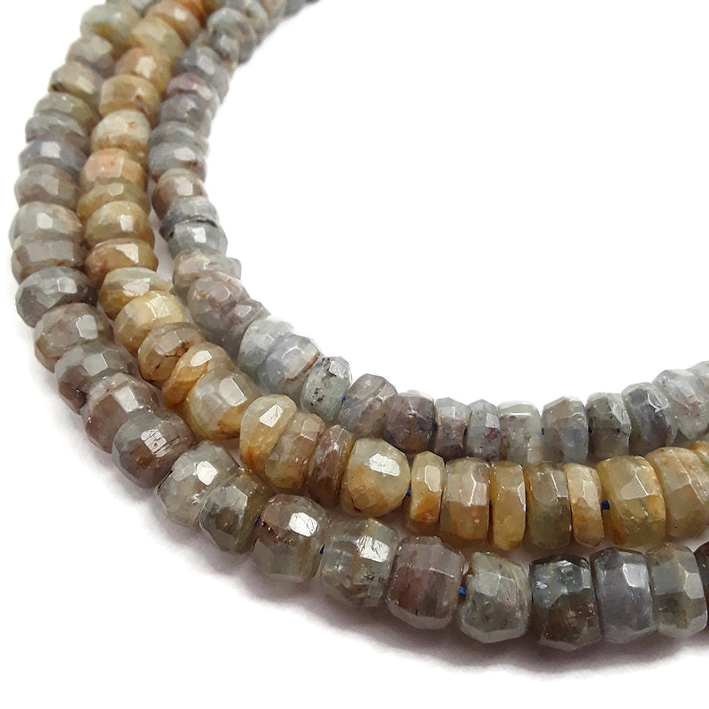 gray kyanite irregular faceted rondelle beads