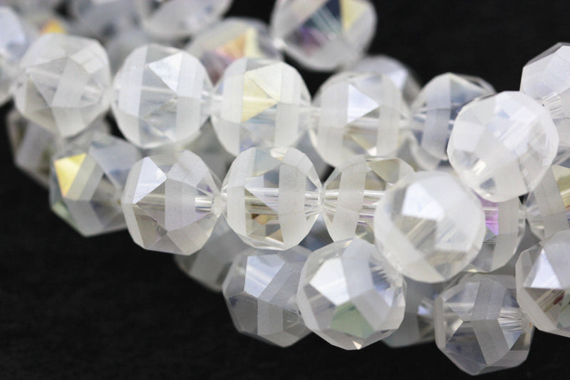 clear ab color crystal glass matte faceted round beads