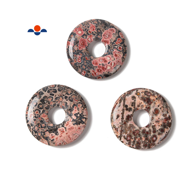 Natural Leopard Skin Donut Circle Pendant Size 35mm 45mm Sold Per Piece