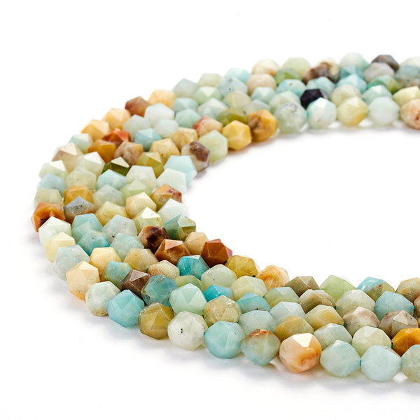 multi color amazonite faceted star cut beads