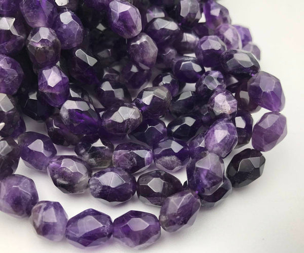 natural amethyst faceted nugget chunk beads