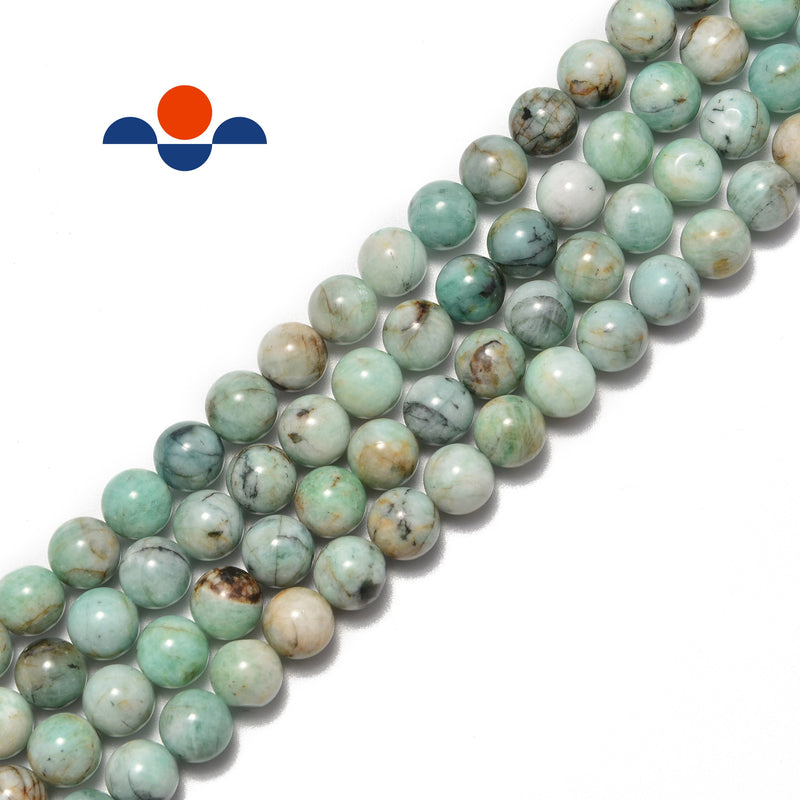 natural emerald smooth round beads