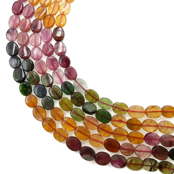 multi color tourmaline smooth oval beads