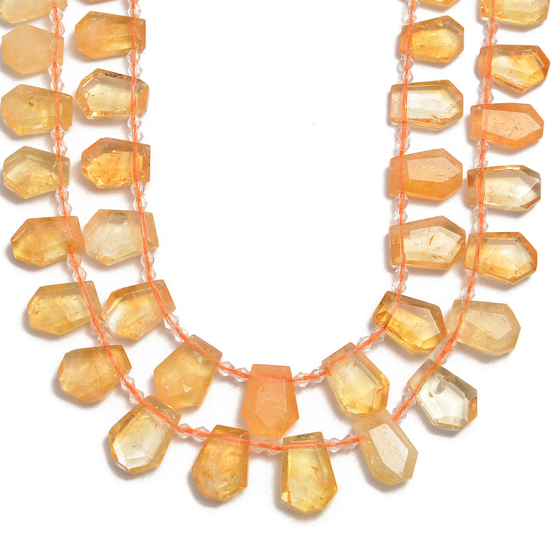 citrine faceted trapezoid shape beads