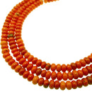 orange magnesite turquoise smooth rondelle