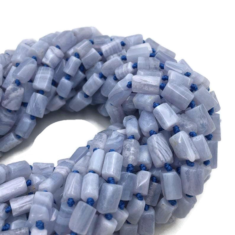 blue lace agate faceted cylinder tube beads