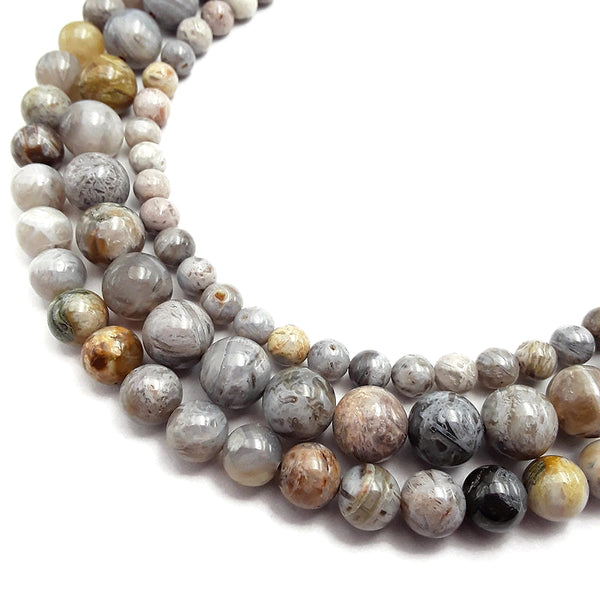 gray bamboo leaf agate smooth round beads