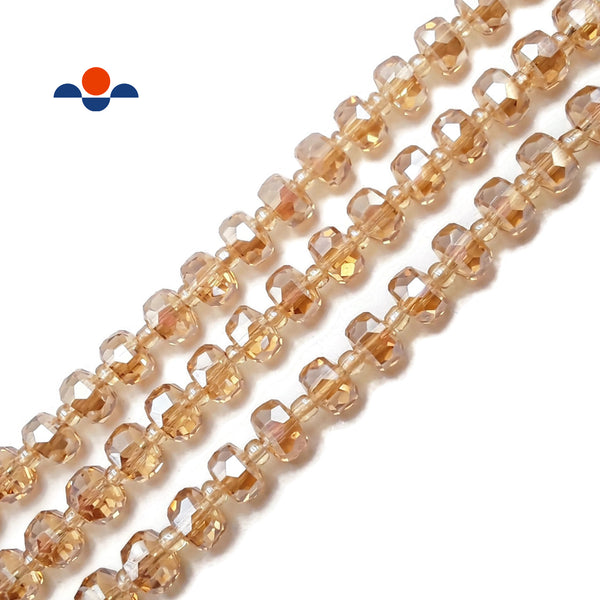 "Peach Crystal Glass Faceted Rondelle Beads 4x8mm 15.5"" Strand"