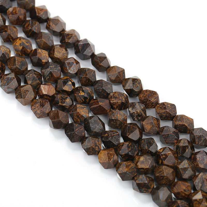 natural bronzite faceted star cut beads