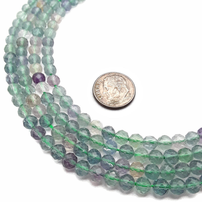 "Natural Fluorite Faceted Round Beads 5mm 15.5"" Strand"