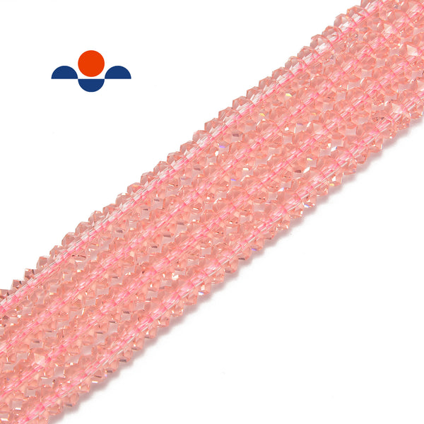 pink k crystal glass faceted rondelle beads