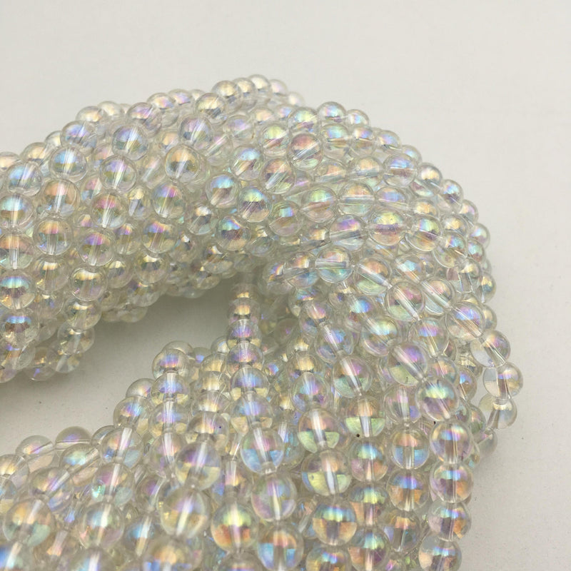 clear quartz ab coat smooth round beads