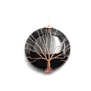 black onyx tree pendant copper wire wrap round