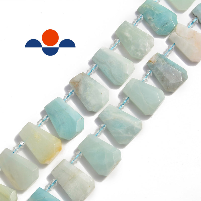 "Amazonite Graduated Faceted Trapezoid Beads 15x20 to 18x27mm 15.5"" Strand"