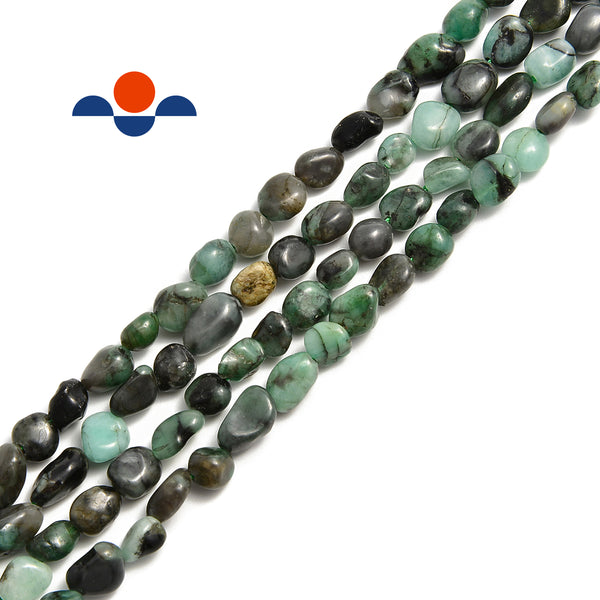 "Natural Emerald Smooth Pebble Nugget Beads Approx 6-8mm 15.5"" Strand"