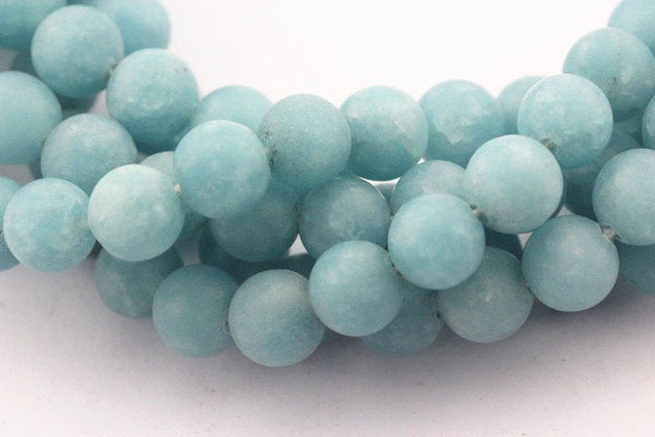 large hole blue sponge quartz matte round beads