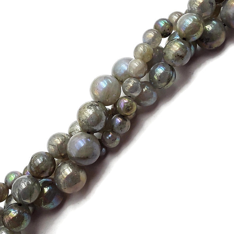"AB Coated Labradorite Smooth Round Beads 6mm 8mm 10mm 15.5"" Strand"